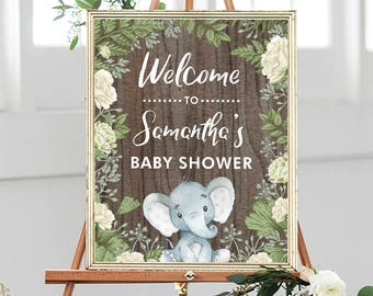 Elephant Baby Shower Welcome Sign Gender Neutral Rustic Printable Decoration Botanical Greenery Forest Boy Girl BOT2