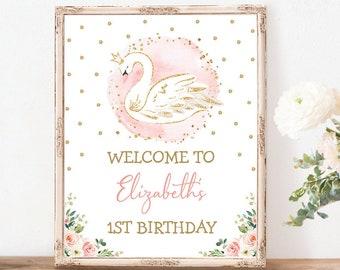 Swan Princess Birthday Welcome Sign. Baby Shower Decoration. Girl 1st Birthday Printable Decor. Blush Pink Floral EDITABLE TEMPLATE. SWAN1