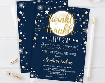 Moon   Stars Baby Shower Invitation   EDITABLE TEMPLATE   Twinkle Little  Star Invite   Space Galaxy Universe Printable   Navy Gold   MOON3 75668aa007