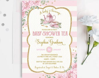 Baby Shower Tea Party Invitation. Pink Gold Floral Invite. High Tea. A Baby is Brewing Invitation. Watercolor Teapot Teacup Baby girl. TEA5A