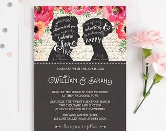 FLORAL WEDDING Invitation. Wedding Calligraphy Invite. Pride and Prejudice Quote. Jane Austen Wedding. Elegant Wedding Invitation. Romantic
