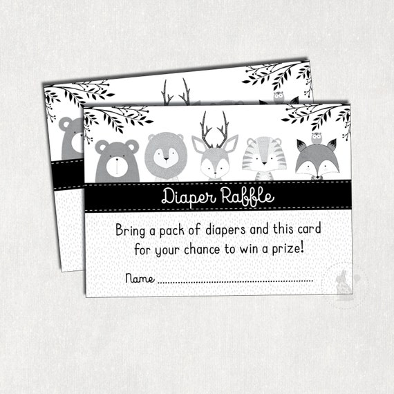 picture regarding Free Printable Diaper Raffle Tickets Black and White identified as Progressive Woodland DIAPER Raffle Printable. Forest Youngster Shower