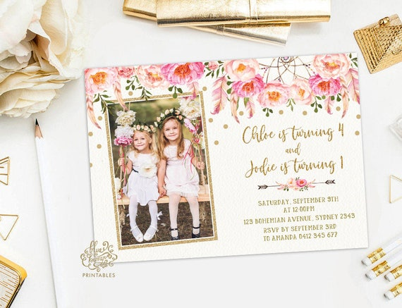 Floral Sibling Birthday Invitation Joint Party