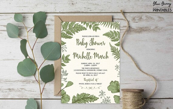 1c7ad50ae34c Botanical Baby Shower Invitation. Green Leaves Fern Foliage Garden ...