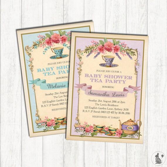 Vintage Floral Baby Shower Tea Invitation Teacup Shower