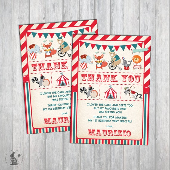 Carnival Birthday Thank You Card Vintage Circus Party Note Printable First Woodland Animals Retro Big Top CAR1
