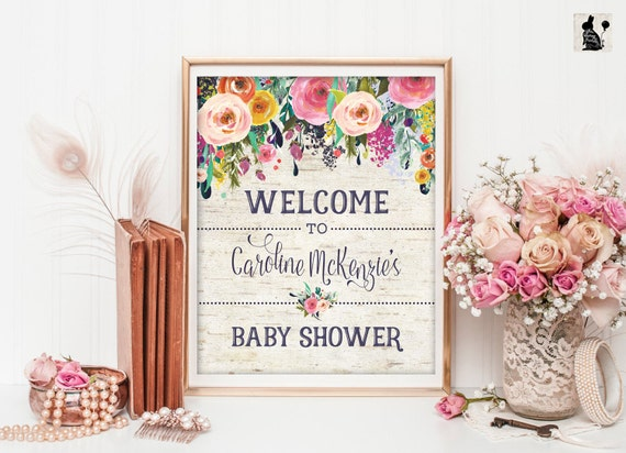 DIY Self Edit BSRF2 Rustic Floral Welcome Poster for Boy Print 16x20 Sign Blue Floral Rustic Baby Shower Welcome Sign Template