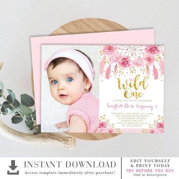 Boho Roses Dreamcatcher Wild One 1st Birthday Invitation Template