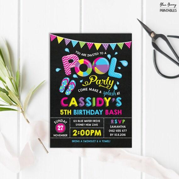 girls pool party invitation summer printable birthday invite diy