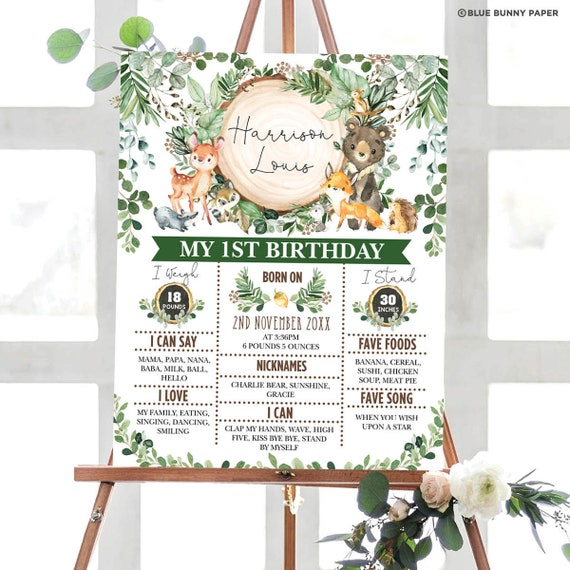 1st Birthday Poster For a Boy Woodland Creatures Milestone Board Forest Animals Woodland Milestone Poster Printable Editable Poster