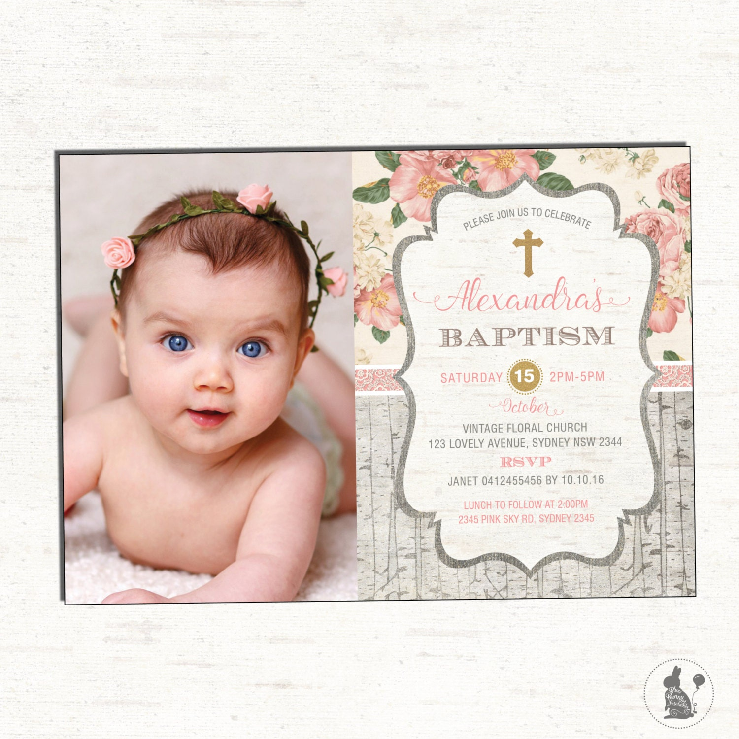 Girl Baptism Invitation. Floral Christening Photo Invitation. | Etsy