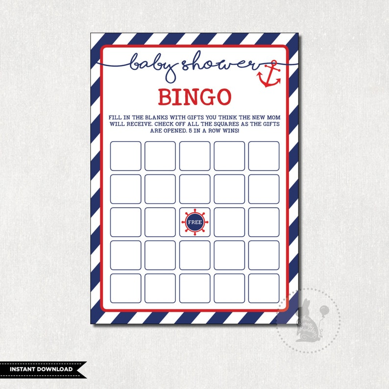 photograph about Free Printable Nautical Baby Shower Games identified as NAUTICAL Little one Shower BINGO Anchor Boy or girl Shower Activity Anchors Absent Shower Printable Armed forces and Crimson Nautical Little one Celebration Sport Fast Down load NAU1