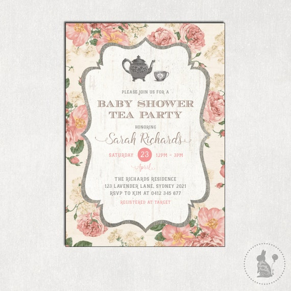 Baby Shower Tea Party Invitation Vintage Flowers Shower Invite