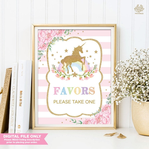 Pink Floral Unicorn Birthday Decorations Rainbow Favors Sign Baby Shower Decor Gold Party UNI1