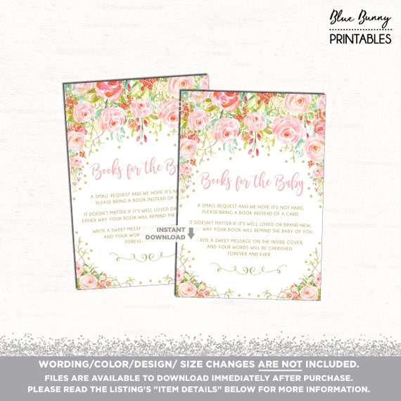 Baby Shower Book Request Pink Gold Floral Printable Insert Books For Baby Printable Shower Invitation Insert Pink Baby Shower Printable