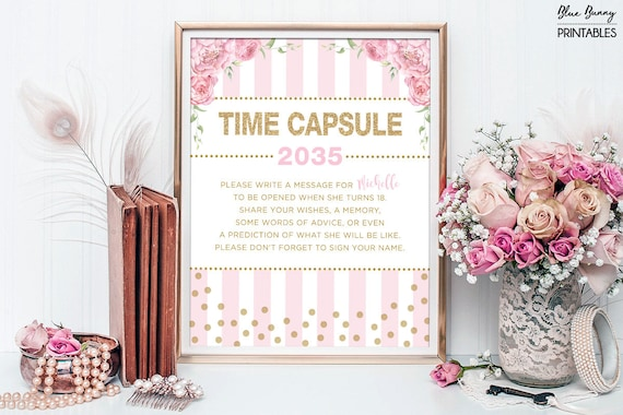 Pink Gold Time Capsule Floral Baby Shower Table Sign Decoration