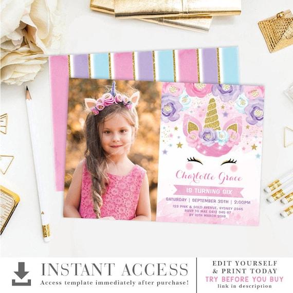 editable unicorn birthday invitation