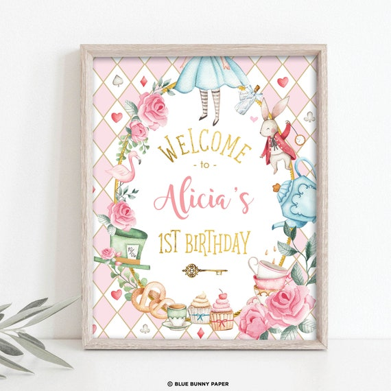 Gothic kids 1st birthday Mad Tea Party poster template Wonderland Mad Tea party  BD001 Editable Alice in Onederland birthday welcome sign