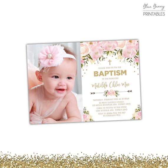 Pink And Gold Floral Baptism Invitation. Pastel Pink