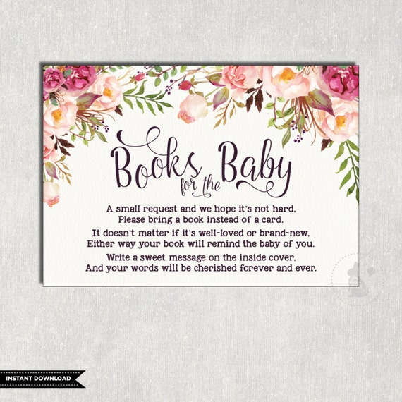 floral books for baby insert card flower baby shower invitation