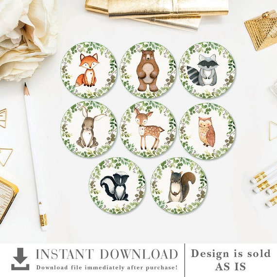 JUN11 Greenery Baby Shower Decorations Favor Tags Safari Jungle Animals Birthday Party Printable 2 Cupcake Toppers INSTANT DOWNLOAD