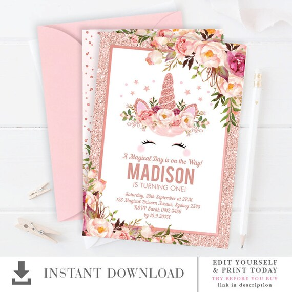 Rose Gold Unicorn Birthday Invitation Editable Template Etsy