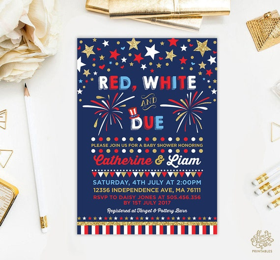 May The Fourth Be With You Baby Shower: July 4th Baby Shower Invitation. Fourth Of July Invite