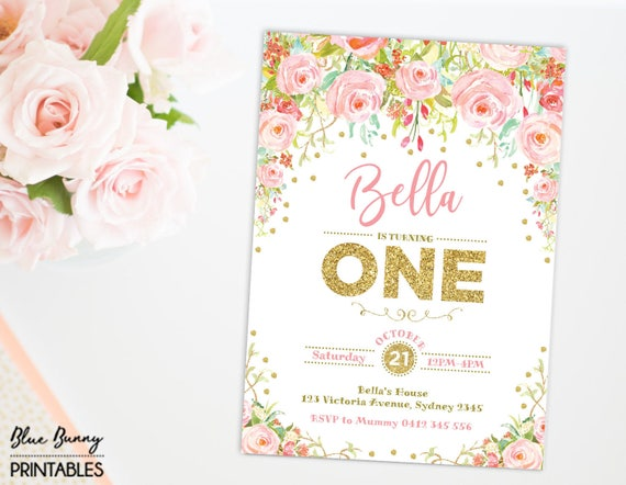 Pink Gold Floral First Birthday Invitation Boho Roses Party