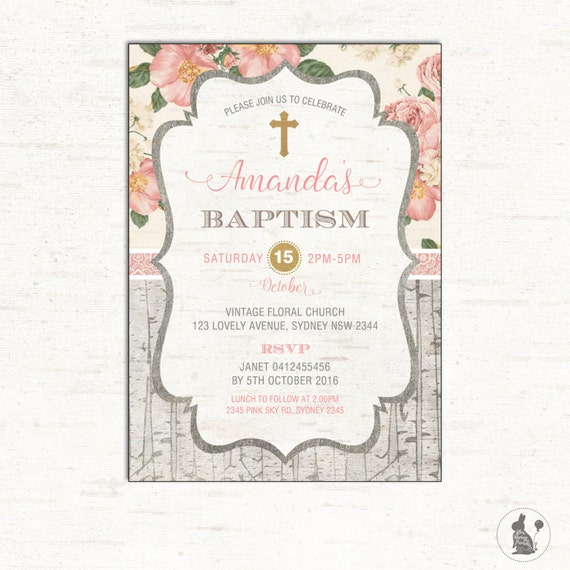 Vintage Baptism Invitation Floral Christening Pink And Gold Party Flowers Invite Flower First Birthday TEA1