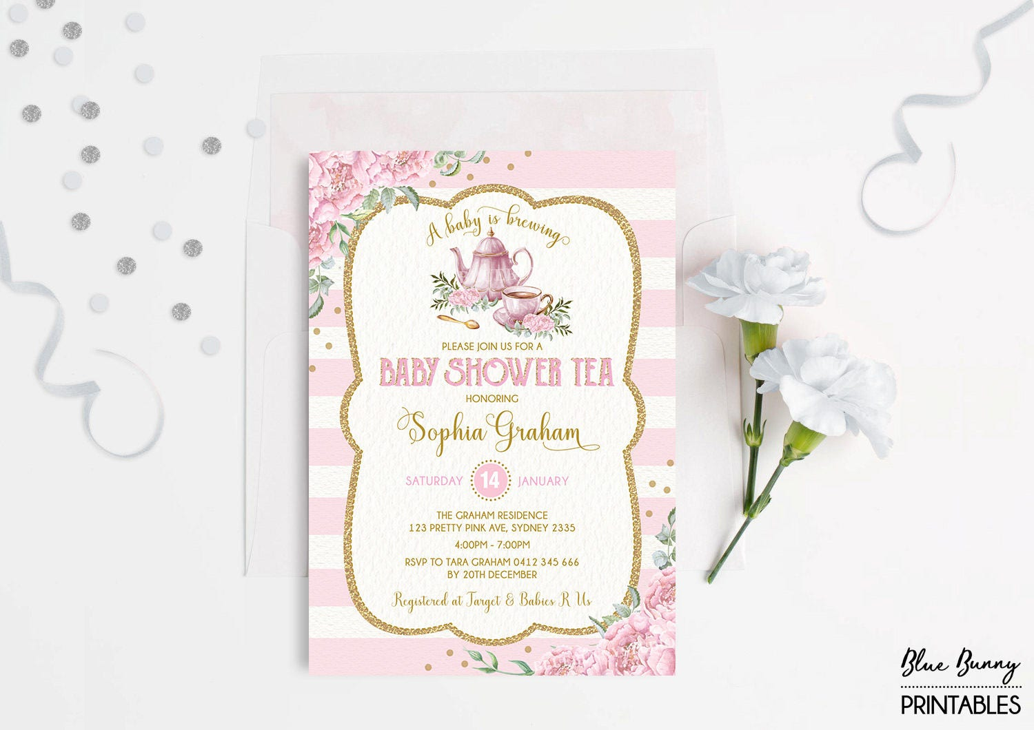 Baby Shower Tea Party Invitation. Pink Gold Floral Invite. | Etsy