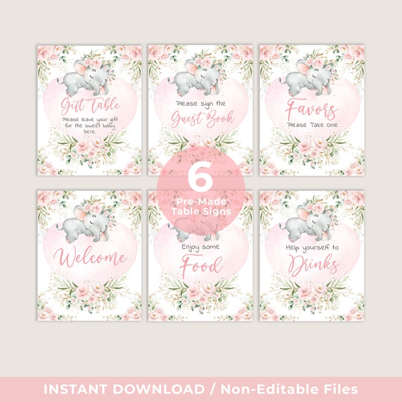 Little Peanut Baby Signs Bundle EL17 Blush Floral Elephant Party Decorations Girl Elephant Baby Shower Table Signs INSTANT DOWNLOAD