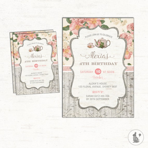 Floral Birthday Photo Invite Vintage Flowers Rustic ANY AGE High Tea Kitchen Party Supplies TEA1 Blue Bunny Printables