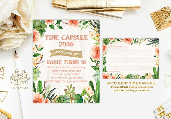 Succulent TIME CAPSULE  Fiesta First Birthday Party Decoration
