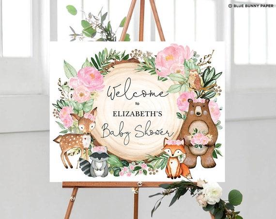 Forest Animals Boho Baby Shower Woodland Welcome Sign Floral Baby Shower Welcome Sign Gold Girl Baby Shower Sign Greenery Welcome Sign