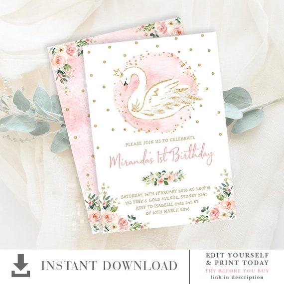 Swan Princess Birthday Invitation Template Editable Pink