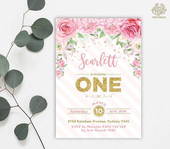Pink Roses First Birthday Invitation Gold Printable