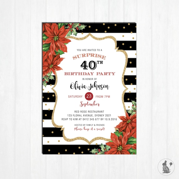 christmas birthday invitation 40th surprise birthday invite red
