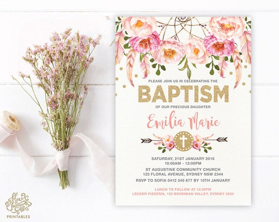Girl Baptism Invitation Pink And Gold Bohemian Floral Christening