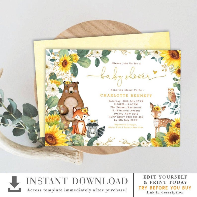 photograph relating to Free Printable Woodland Animal Templates called Sunflower Woodland Kid Shower Invitation Template. Forest Pets Greenery EDITABLE Printable Invite. Summer time Yard Floral. Sunshine6