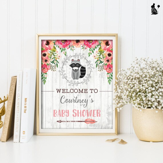 Raccoon Baby Shower Welcome Sign Printable Woodland Baby Shower