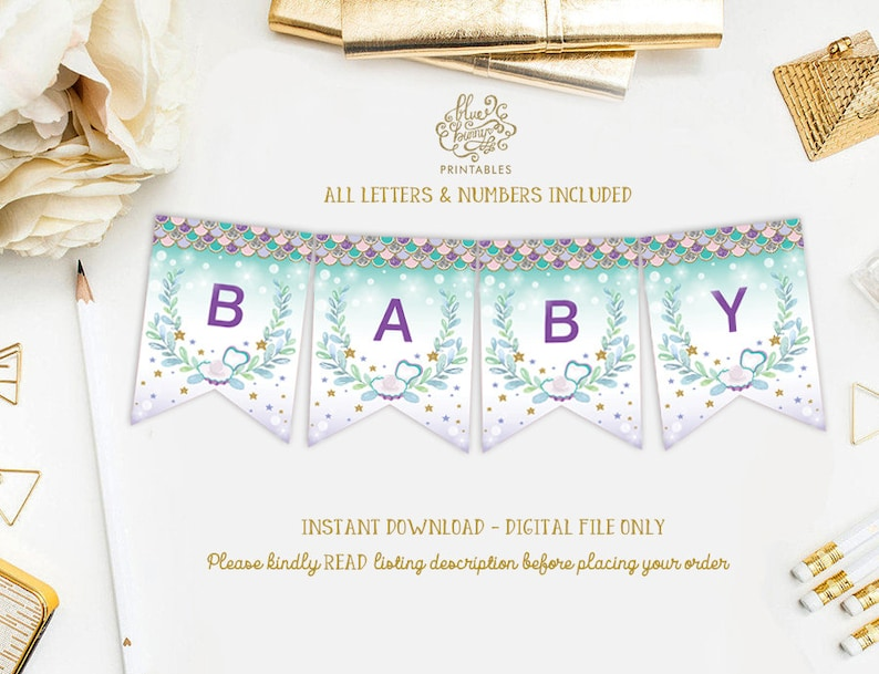 Mermaid Baby Shower Printable Banner All Letters Numbers Etsy