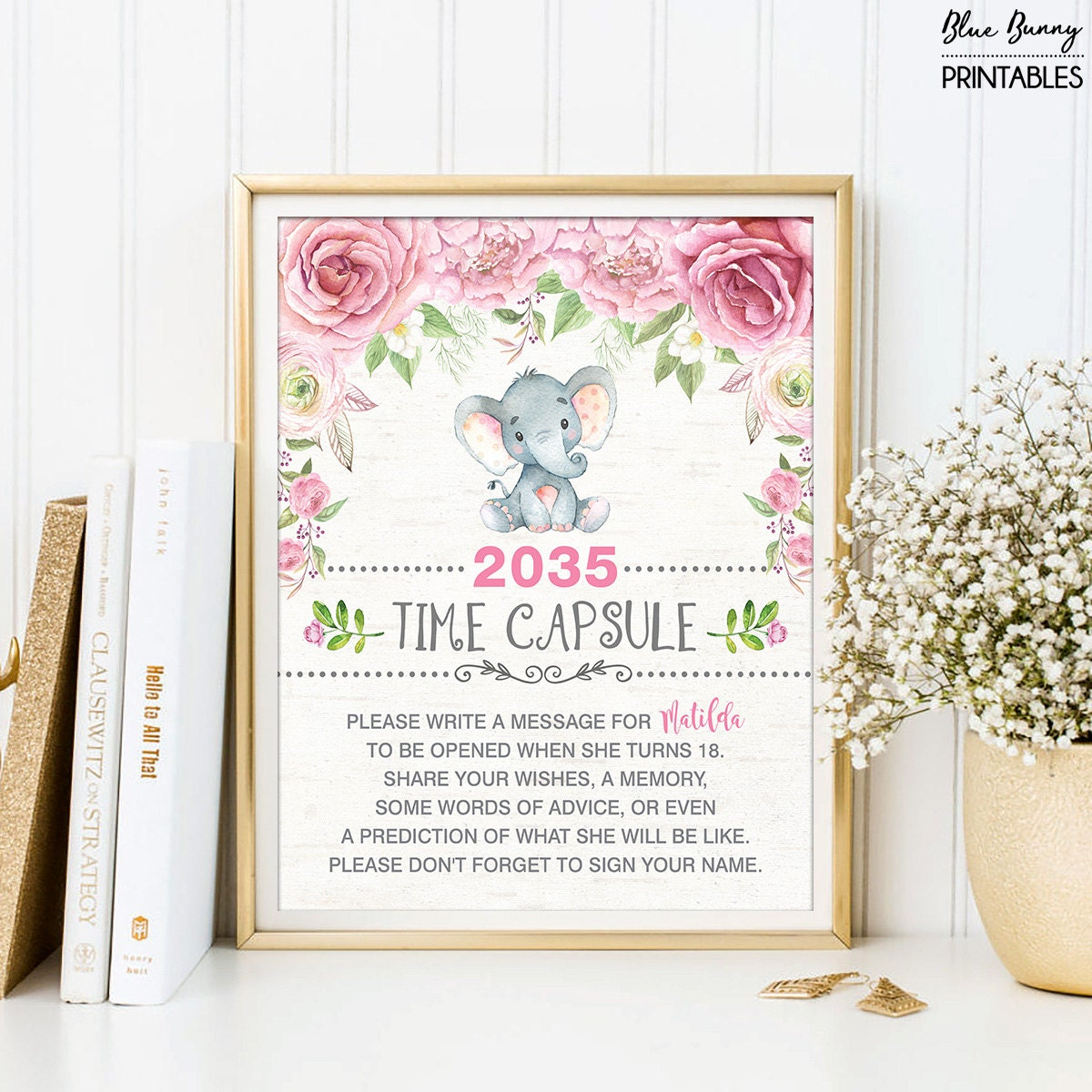 Girl Elephant TIME CAPSULE. Pink Floral Baby Shower Table