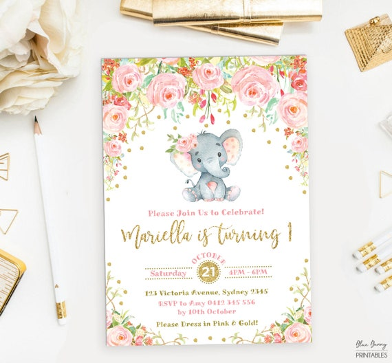 Baby Elephant Birthday Invitation Pink Gold Garden Flower Little