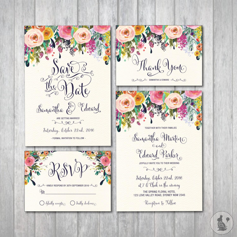 Complete Wedding Invitation Kits: Floral Wedding Invitation Kit. Bohemian Flower Invitation