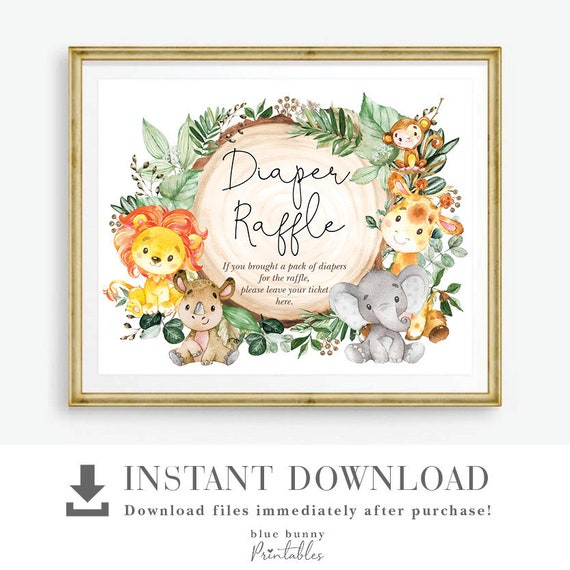 SAF3 Birthday Party Favor Download Wild Animals Baby Shower Printable Tropical Jungle Thank You Card Greenery Safari EDITABLE TEMPLATE