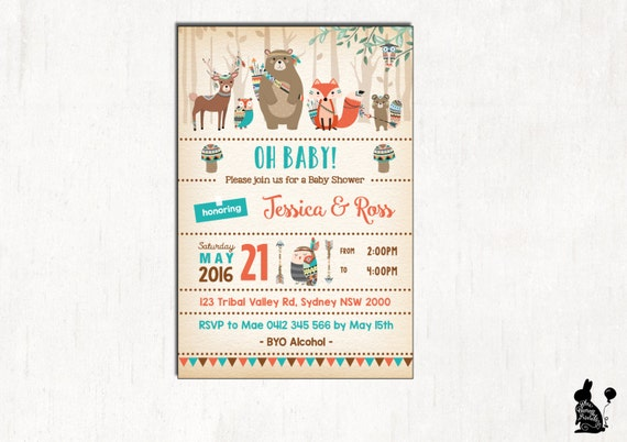 tribal baby shower invitation boho baby shower invite fox etsy