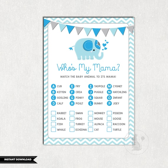 Boy Elephant Baby Shower Game Who S My Mama Game Name Baby Animal