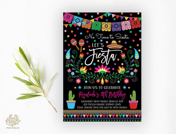 fiesta birthday party invitation mexican theme party printable