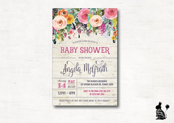 FLORAL BABY-Dusche Einladung. Blume Babyparty digitale laden.   Etsy