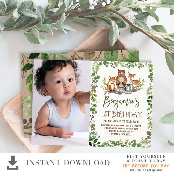 Greenery Woodland 1st Birthday Invitation  Boy Birthday Party Printable  EDITABLE TEMPLATE  Forest Animals Deer Fox Bear Download  BOT5